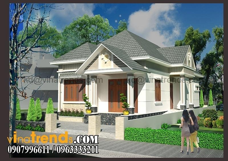 biet thu san vuon 1 tret 1 lau 2 Khám phá mẫu biệt thự vườn mini hiện đại chữ L mái dốc   BTV180814A