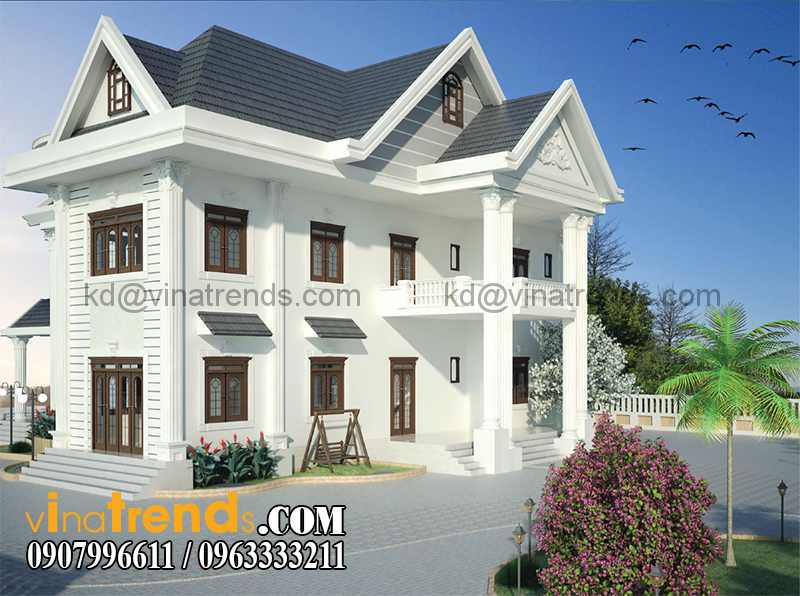 biet thu vuon 2 tang dep 1 Biệt thự 2 tầng đẹp mái thái nhà cô Loan ở Cà Mau   BT300915A