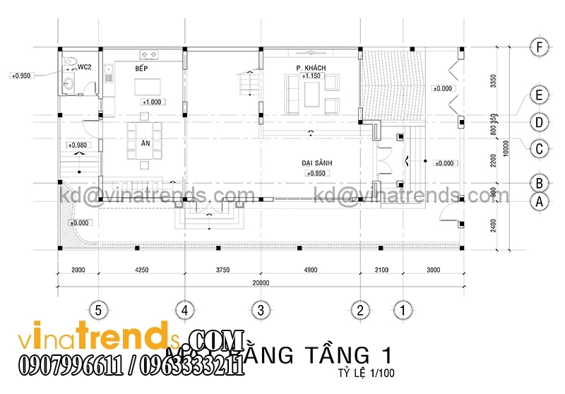 mat bang biet thu 3 tang 2 Độc đáo mẫu thiết kế biệt thự 200m2 3 tầng mới đang sốt sình sịch   BT100914A