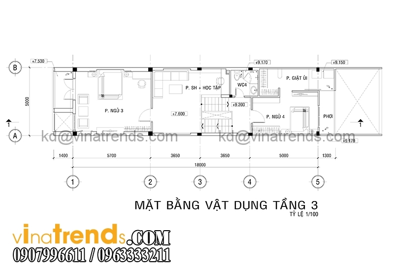 mb 4 1 Thiết kế nhà ống đẹp 4 tầng 5x18m  có hồ bơi trên sân thượng   NO180914A