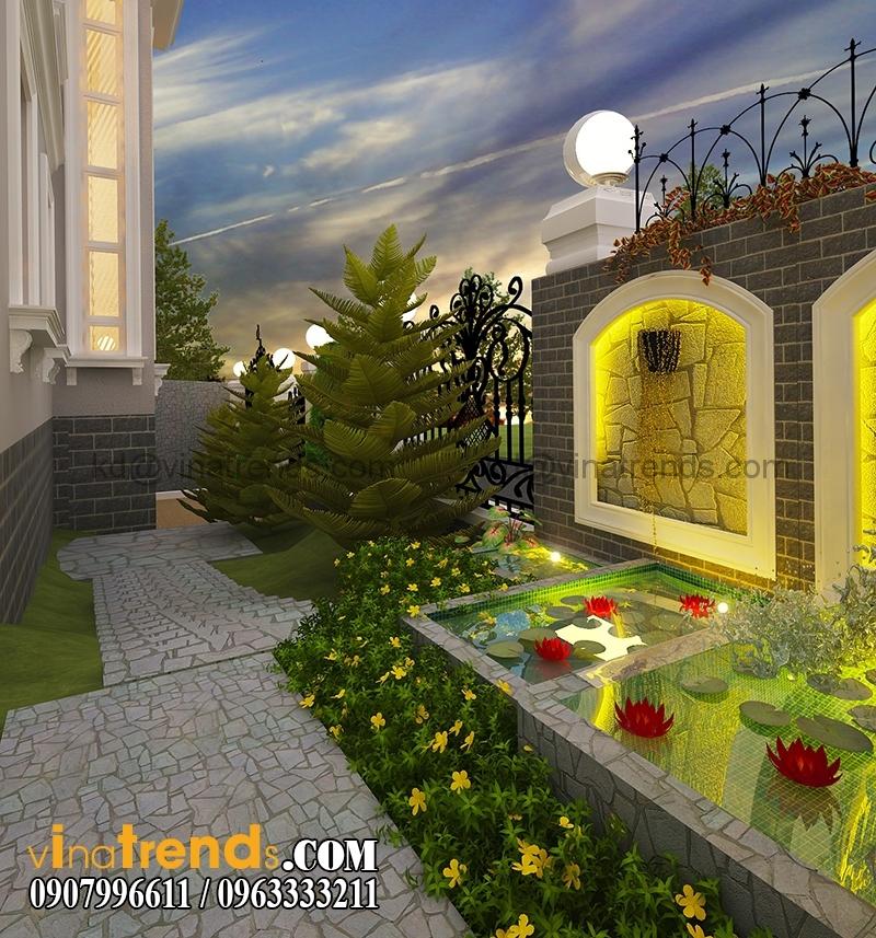 thiet san vuon biet thu co dien dep 3 Thiết kế biệt thự tân cổ điển 8x18,3m 2 tầng sân vườn ấn tượng   BT171214A