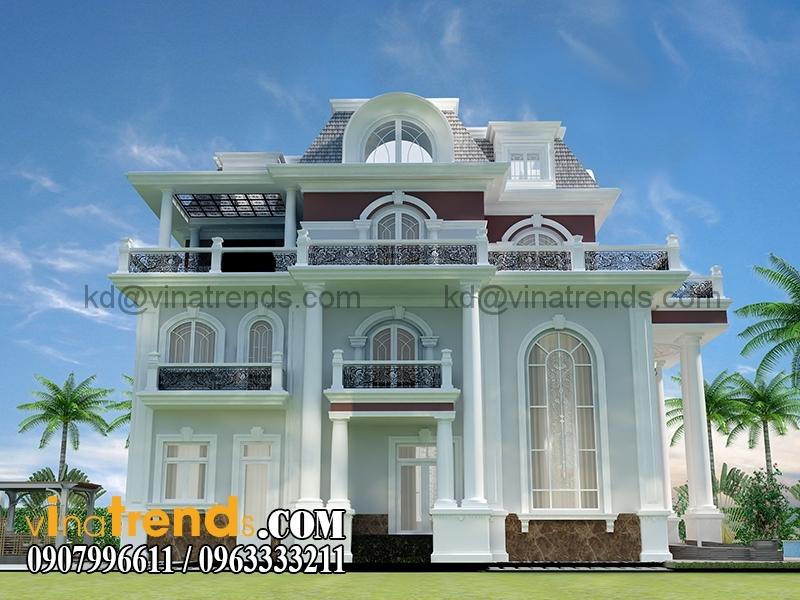 mau biet thu 3 tang co dien chau au 2 1 Mẫu thiết kế biệt thự 3 tầng 13x17m cổ điển kiểu pháp đẹp   BT170315B