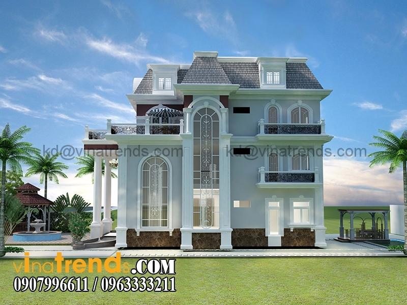 mau biet thu 3 tang co dien chau au 3 1 Mẫu thiết kế biệt thự 3 tầng 13x17m cổ điển kiểu pháp đẹp   BT170315B