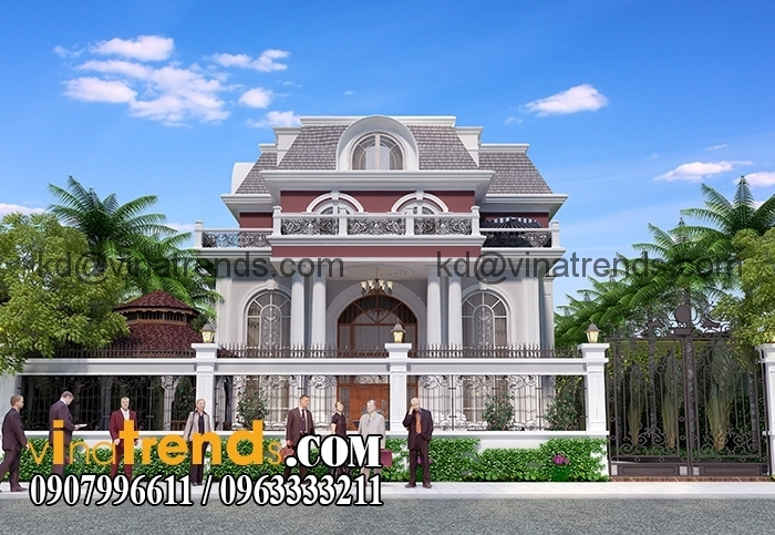 mau biet thu 3 tang co dien chau au 3 Thiết kế biệt thự 10x20m 3 tầng hiện đại qui mô nhất Việt Nam   BTHD121214A