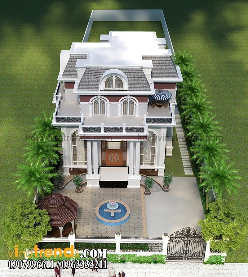 mau biet thu 3 tang co dien chau au 4 1 Mẫu thiết kế biệt thự 3 tầng 13x17m cổ điển kiểu pháp đẹp   BT170315B