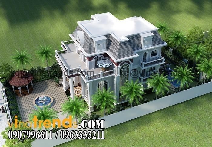 mau biet thu 3 tang co dien chau au 4 Thiết kế biệt thự nhà vườn đẹp mới nhất   BTV110714B