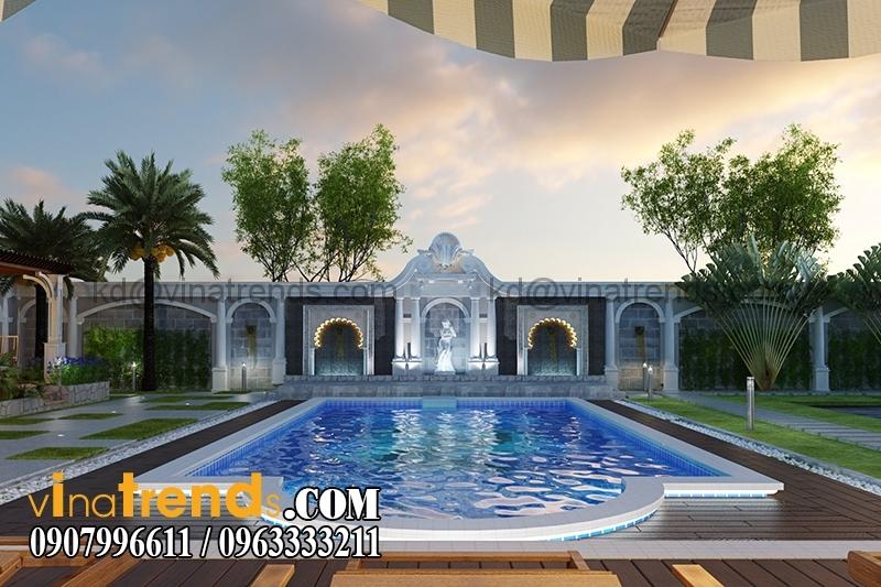 thiet ke san vuon mau biet thu 3 tang co dien chau au 1 Thiết kế biệt thự vườn đẹp thân thiện   BTV130714A