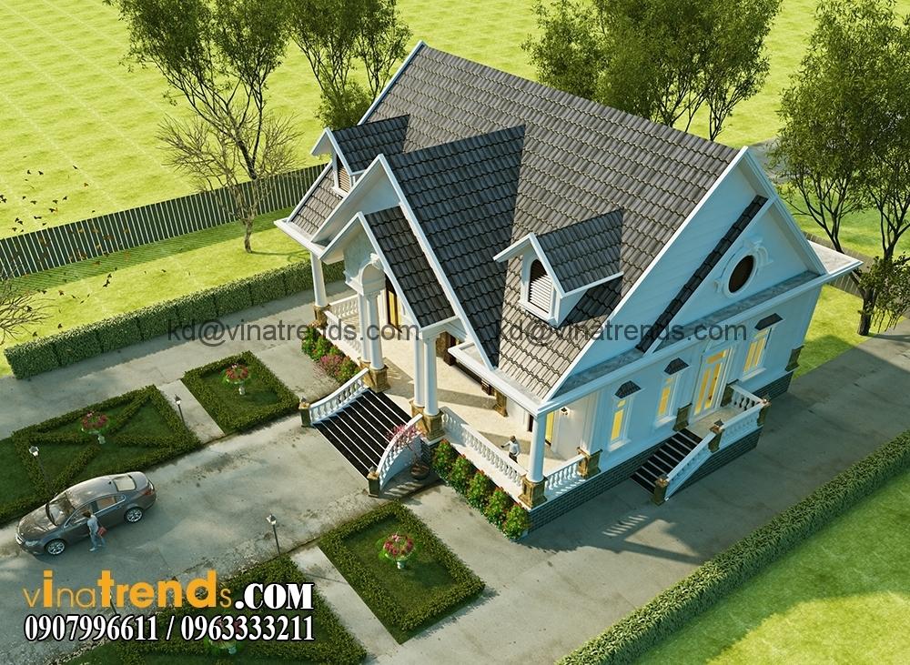 biet thu mini san vuon dep 2 Thiết kế biệt thự vườn đẹp 15x18m mái thái tuyệt sắc giai nhân   BTV120615A
