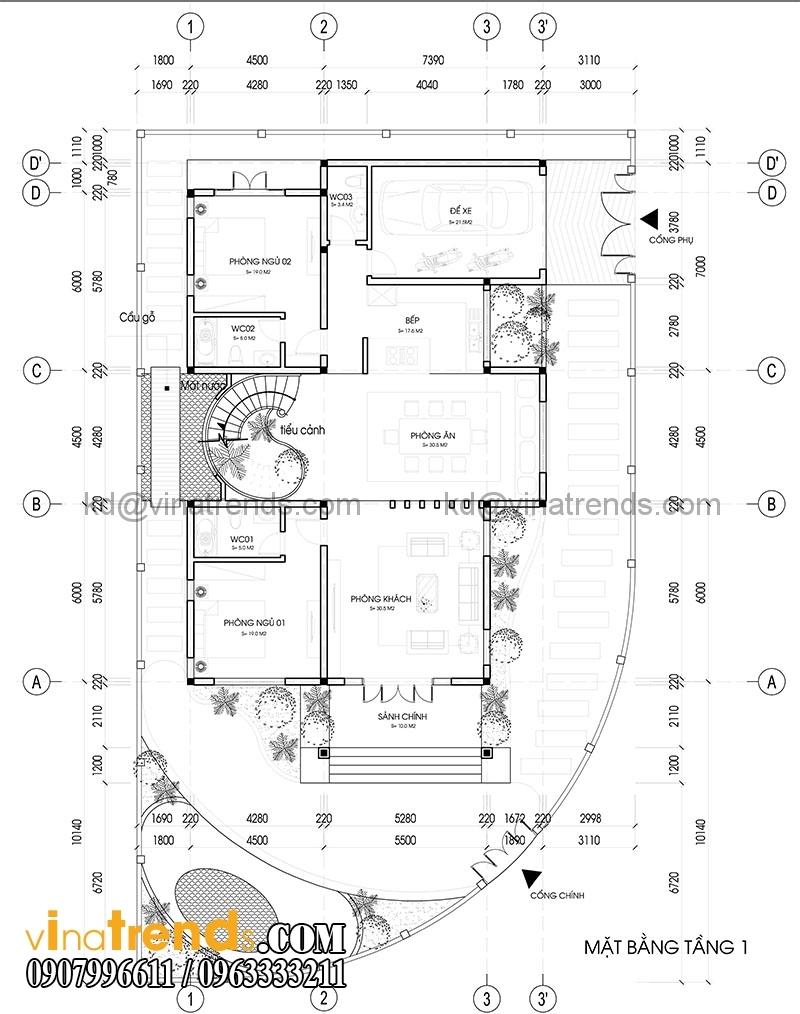 mat bang biet thu 2 tang dep co san vuon 2 Mẫu thiết kế biệt thự tân cổ điển 2 tầng đẹp 12,8x18,6m càng ngắm càng mê   BT260615A