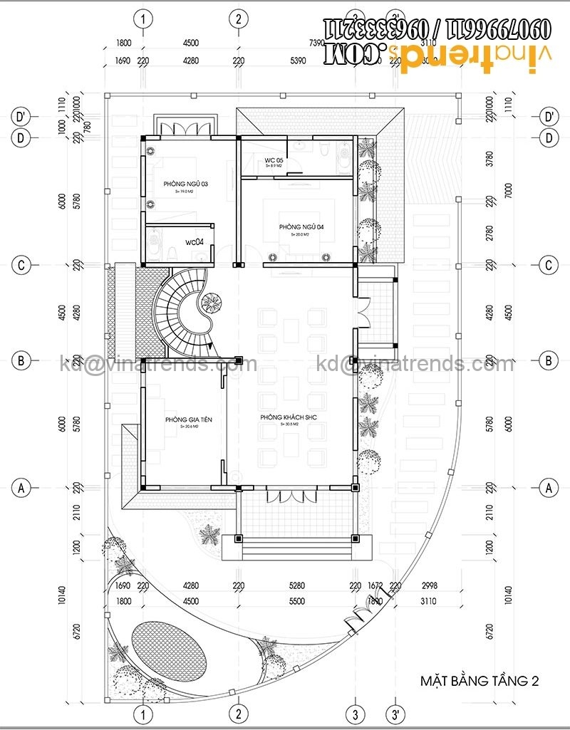 mat bang biet thu 2 tang dep co san vuon 3 e1466150826745 Mẫu thiết kế biệt thự tân cổ điển 2 tầng đẹp 12,8x18,6m càng ngắm càng mê   BT260615A