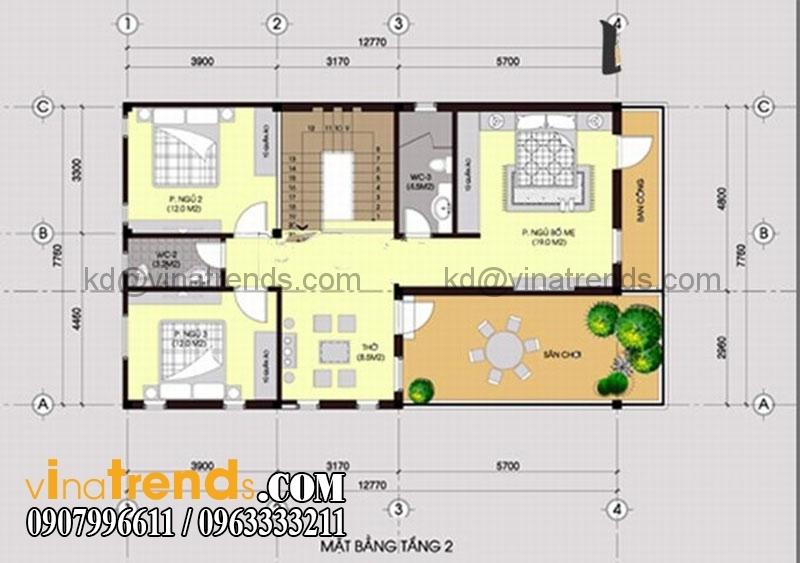 ban ve biet thu dep 105m2 mat bang tang 2 Mẫu thiết kế biệt thự hiện đại 2 tầng 7,7x12,7m đẹp đẳng cấp là mãi mãi   BT070715A