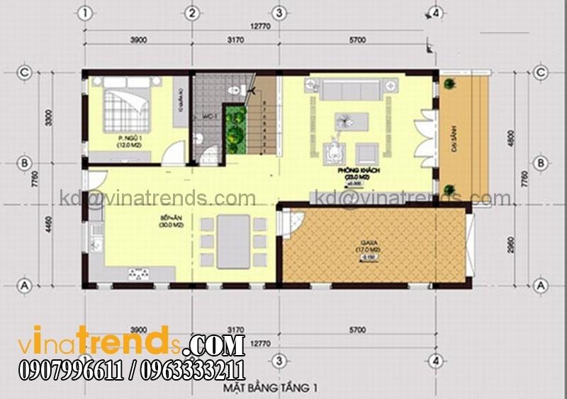 ban ve mat bang biet thu 105m2 209 Mẫu thiết kế biệt thự hiện đại 2 tầng 7,7x12,7m đẹp đẳng cấp là mãi mãi   BT070715A