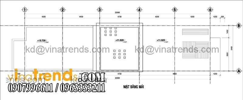 ban ve mau thiet ke nha pho 2 tang hien dai mat tien 54m 1 Thiết kế nhà phố 2 tầng đẹp 5,4x22m có sân thượng hiện đại   NP140715C