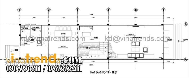 ban ve mau thiet ke nha pho 2 tang hien dai mat tien 54m 2 Thiết kế nhà phố 2 tầng đẹp 5,4x22m có sân thượng hiện đại   NP140715C