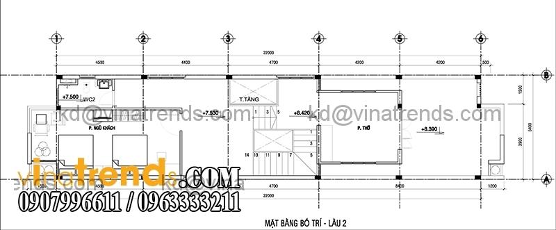 ban ve mau thiet ke nha pho 2 tang hien dai mat tien 54m 4 Thiết kế nhà phố 2 tầng đẹp 5,4x22m có sân thượng hiện đại   NP140715C