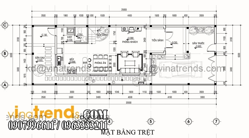ban ve thiet ke nha pho mat tien 65m hien dai 3 Mẫu thiết kế nhà phố hiện đại mặt tiền 6,5m đẹp mát mắt người xem   NP140715B