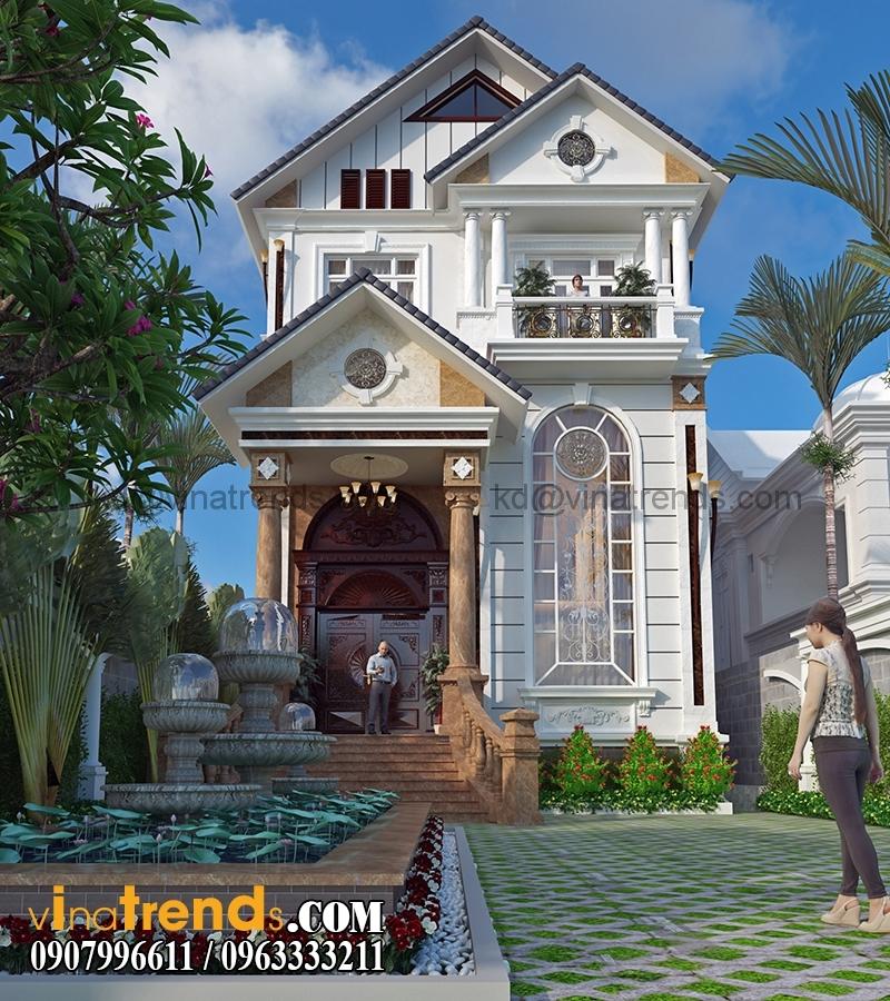 biet thu 3 tang tan co dien co san vuon dep 2 Thiết kế biệt thự sân vườn 3 tầng 9x18m đẹp lung linh đến khó cưỡng   BTV210715A