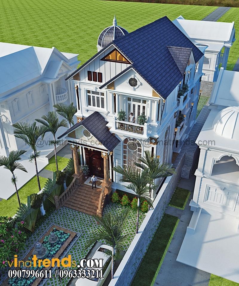 biet thu 3 tang tan co dien co san vuon dep 3 Thiết kế biệt thự sân vườn 3 tầng 9x18m đẹp lung linh đến khó cưỡng   BTV210715A