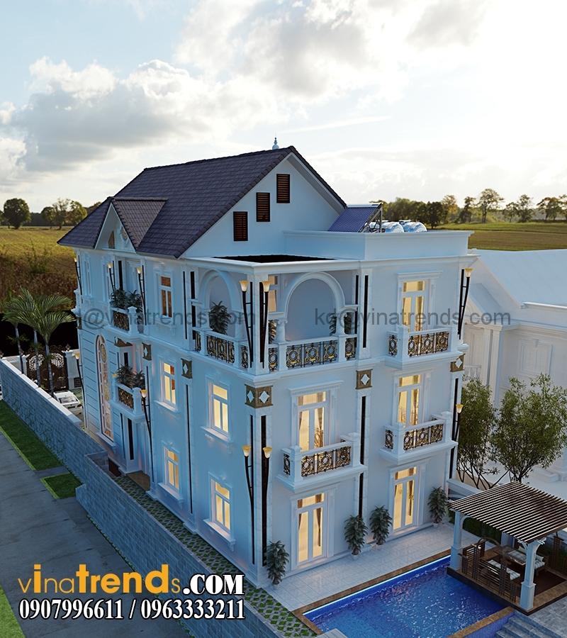 biet thu 3 tang tan co dien co san vuon dep 4 Thiết kế biệt thự sân vườn 3 tầng 9x18m đẹp lung linh đến khó cưỡng   BTV210715A