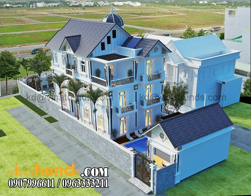 biet thu 3 tang tan co dien co san vuon dep 5 Thiết kế biệt thự sân vườn 3 tầng 9x18m đẹp lung linh đến khó cưỡng   BTV210715A