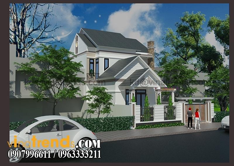 biet thu pho 2 tang 150m2 2 Thiết kế biệt thự vườn 1 tầng ngập tràn sắc xanh   BTV180714B