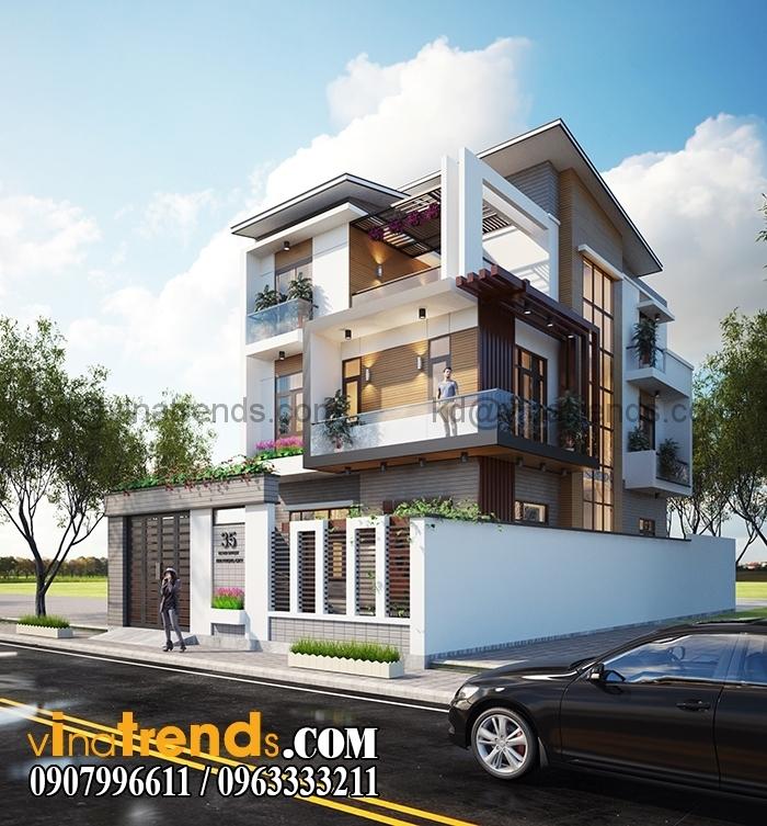biet thu pho 2 tang dep Thiết kế biệt thự 3 tầng 10x20m đẹp phong cách châu âu   BT290715A