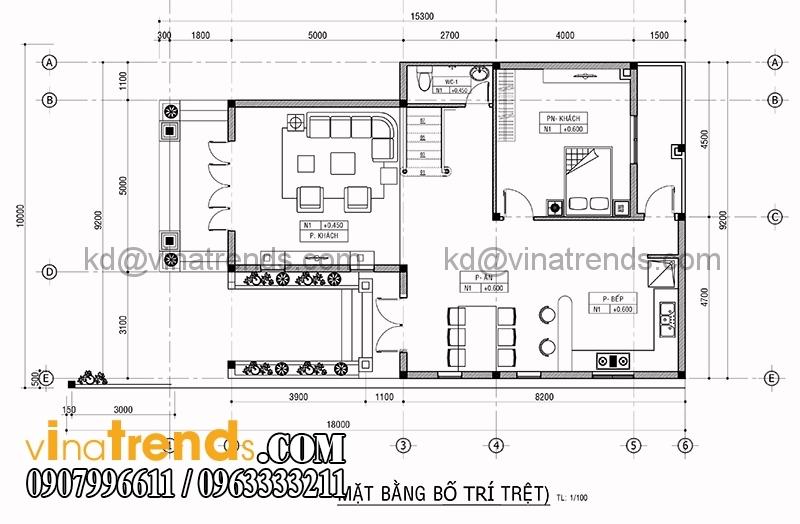 mat bang biet thu 2 tang 10x15 2 Mẫu thiết kế biệt thự 2 tầng kiểu Pháp với tổng diện tích xây dựng 200m2 mang xu hướng mới 2017   BT240715A