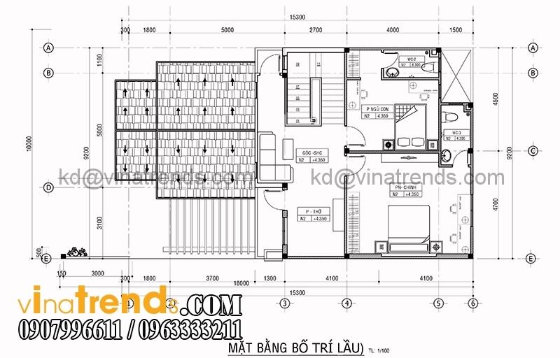 mat bang biet thu 2 tang 10x15 3 Mẫu thiết kế biệt thự 2 tầng kiểu Pháp với tổng diện tích xây dựng 200m2 mang xu hướng mới 2017   BT240715A
