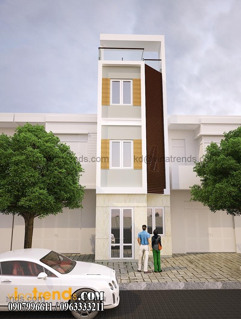 mau thiet ke nha pho 4 tang hien dai mat tian dep 1 Mẫu thiết kế nhà phố hiện đại 4 tầng 3,8x7,6m đẹp trên từng centimet   NP070715B