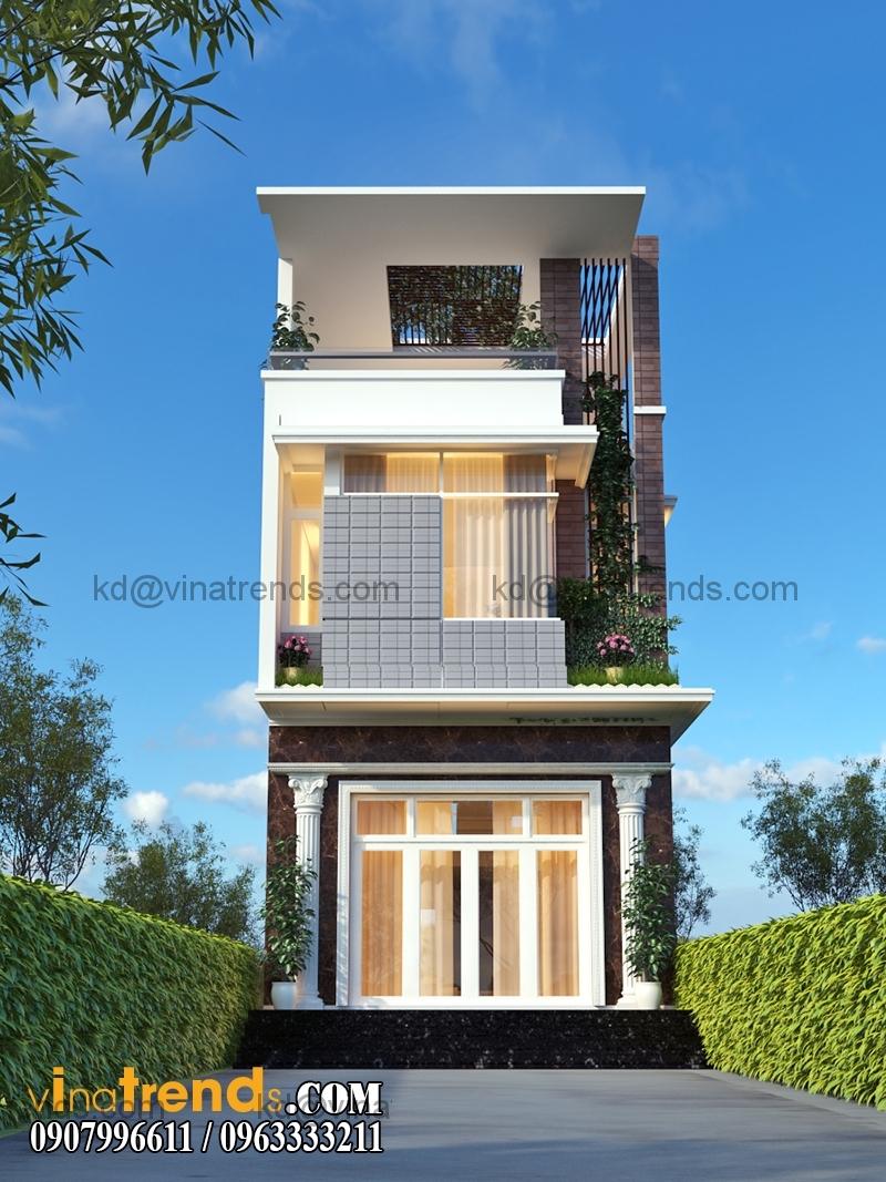 phoi canh mau nha pho dep 2 tang hien dai dien tich 54x22m 2 Thiết kế nhà phố 2 tầng đẹp 5,4x22m có sân thượng hiện đại   NP140715C