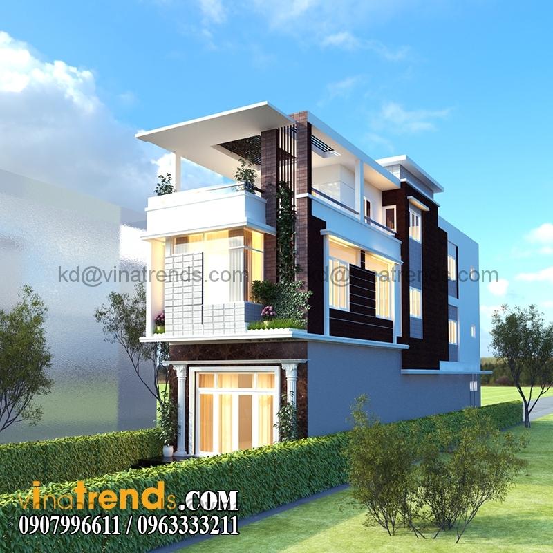 phoi canh mau nha pho dep 2 tang hien dai dien tich 54x22m 3 Thiết kế nhà phố 2 tầng đẹp 5,4x22m có sân thượng hiện đại   NP140715C