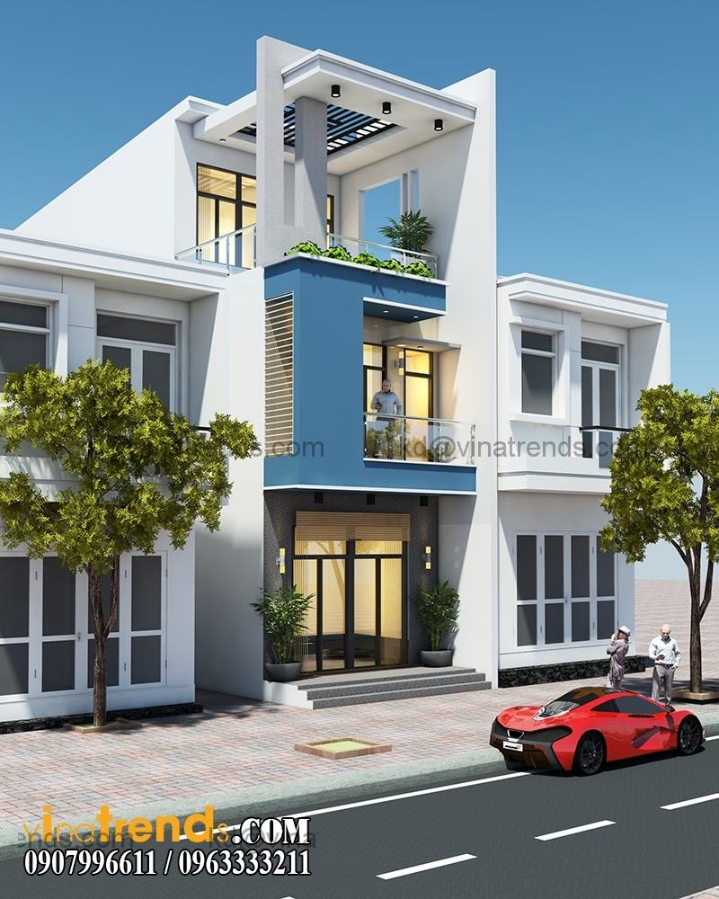 thiet ke nha pho 3 tang hien dai dien tich 5x167m 1 Thiết kế nhà phố hiện đại 5x16,7m 3 tầng đẹp đánh thức mọi giác quan   NP070715C