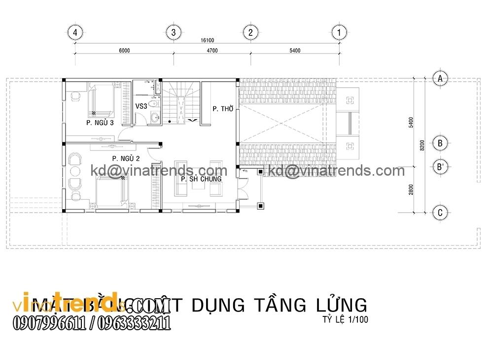 ban ve biet thu 2 tang dep 2 Mẫu thiết kế biệt thự nhà vườn 2 tầng 160m2 đẹp quá xá đẹp   BTV070815A