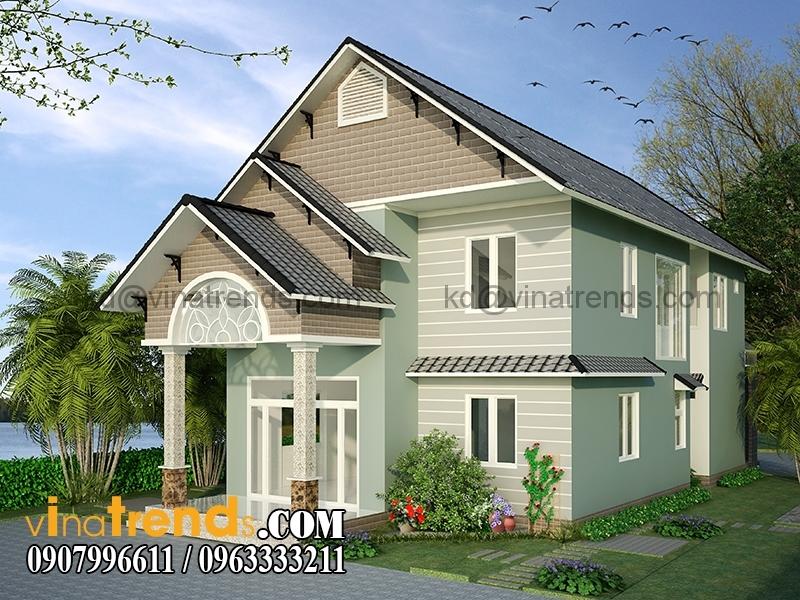 biet thu 2 tang 8x16m 3 Mẫu nhà vườn 2 tầng đẹp 135m2 anh Dũng Đồng Nai   BTNV190815A