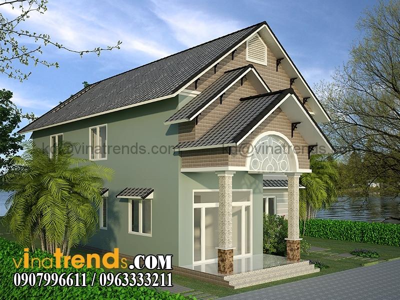 biet thu 2 tang 8x16m 4 Mẫu nhà vườn 2 tầng đẹp 135m2 anh Dũng Đồng Nai   BTNV190815A