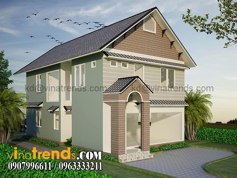 biet thu 2 tang 8x16m 6 Mẫu nhà vườn 2 tầng đẹp 135m2 anh Dũng Đồng Nai   BTNV190815A