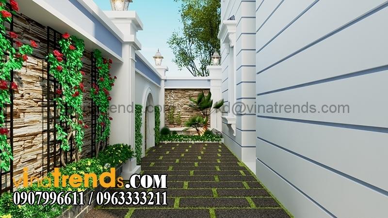 biet thu 2 tang mai thai 2 Mẫu thiết kế biệt thự nhà vườn 2 tầng 160m2 đẹp quá xá đẹp   BTV070815A