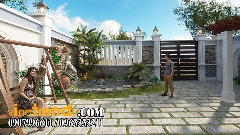 biet thu 2 tang mai thai 3 Mẫu thiết kế biệt thự nhà vườn 2 tầng 160m2 đẹp quá xá đẹp   BTV070815A