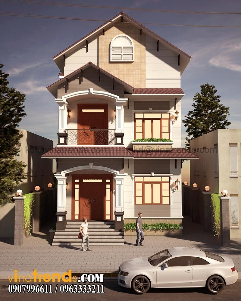 biet thu pho 2 tang 845x165m 1 Xinh xắn mẫu thiết kế biệt thự mini 2 tầng 8,5x16,5m đẹp và lạ phong cách mới   BT050815A