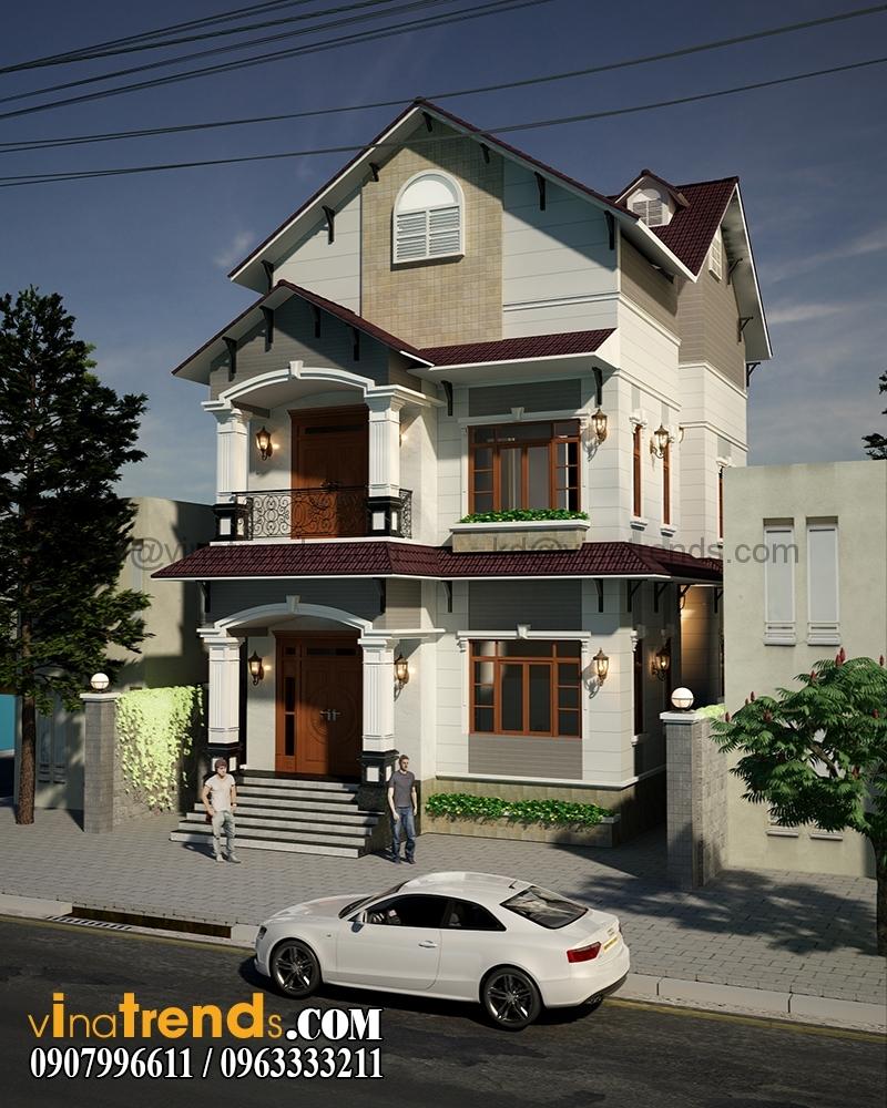 biet thu pho 2 tang 845x165m 2 Xinh xắn mẫu thiết kế biệt thự mini 2 tầng 8,5x16,5m đẹp và lạ phong cách mới   BT050815A