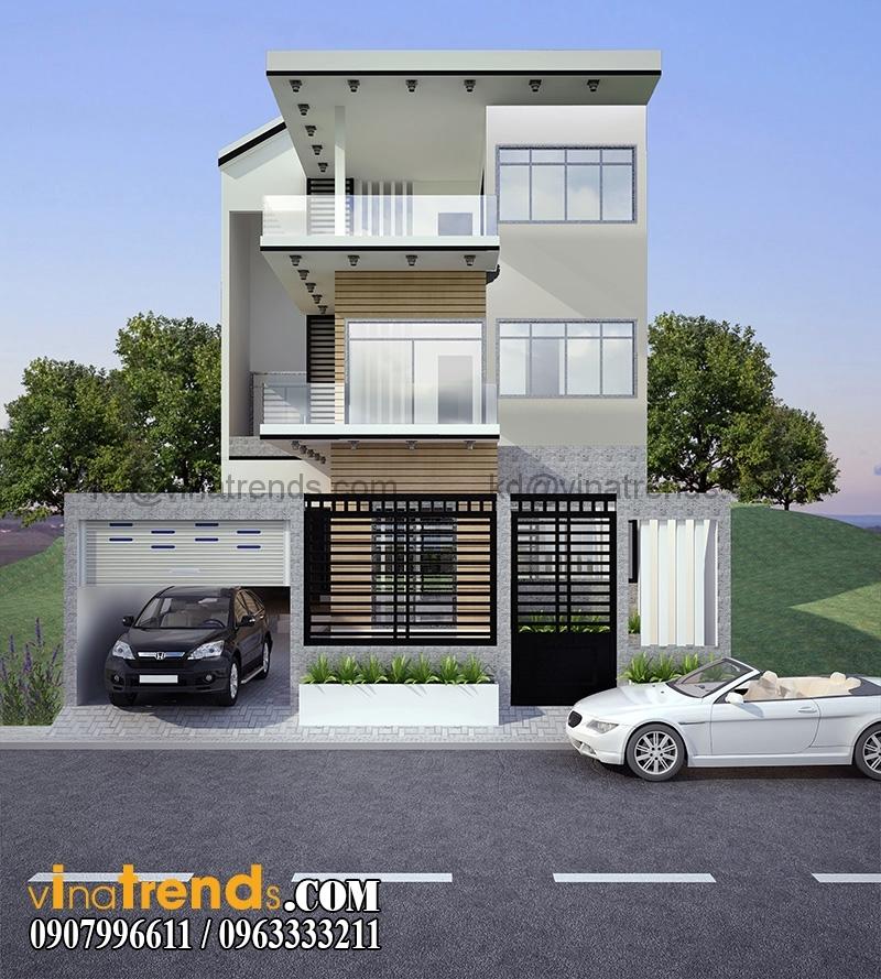 biet thu pho 3 tang 200m 3 Xinh xắn mẫu thiết kế biệt thự mini 2 tầng 8,5x16,5m đẹp và lạ phong cách mới   BT050815A