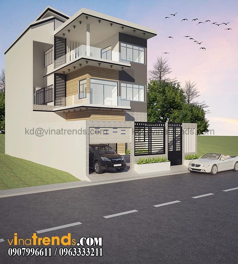 biet thu pho 3 tang 200m 4 Thiết kế biệt thự mini 2 tầng đẹp 10x20m sáng tạo chính là nghệ thuật   BTMN080815A