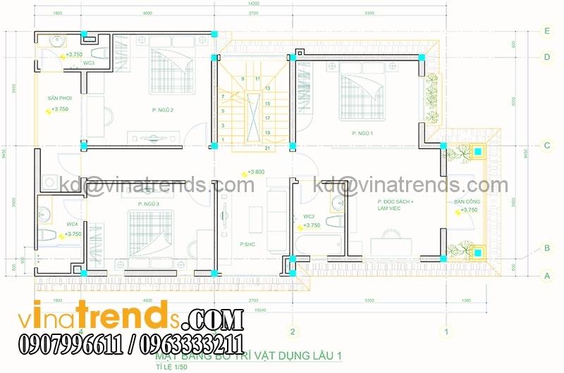 mat bang biet thu pho 2 tang 845x165m 3 Xinh xắn mẫu thiết kế biệt thự mini 2 tầng 8,5x16,5m đẹp và lạ phong cách mới   BT050815A