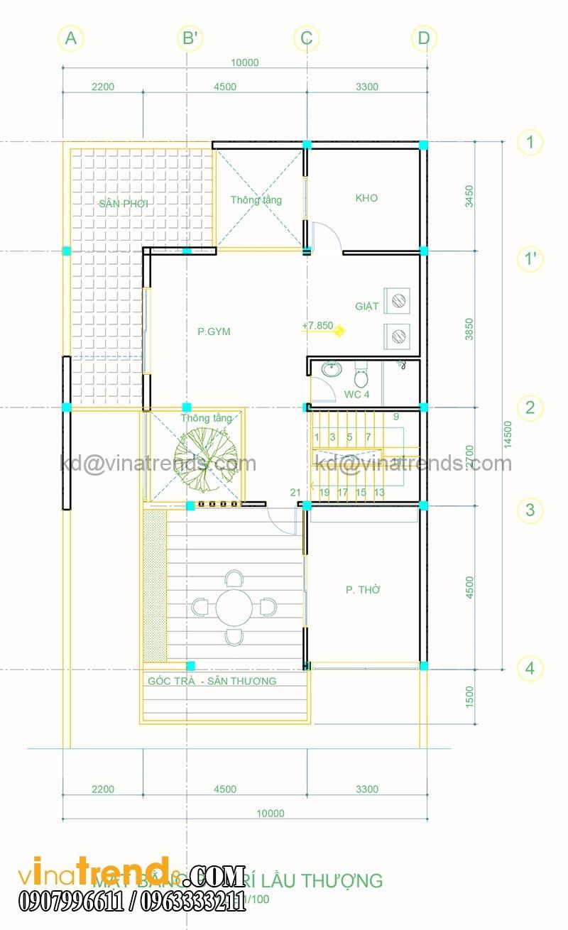 mat bang biet thu pho 3 tang 10x20m 2 Thiết kế biệt thự 3 tầng hiện đại đẹp 10x20m có hầm ô tô khang trang ở Hà Tĩnh