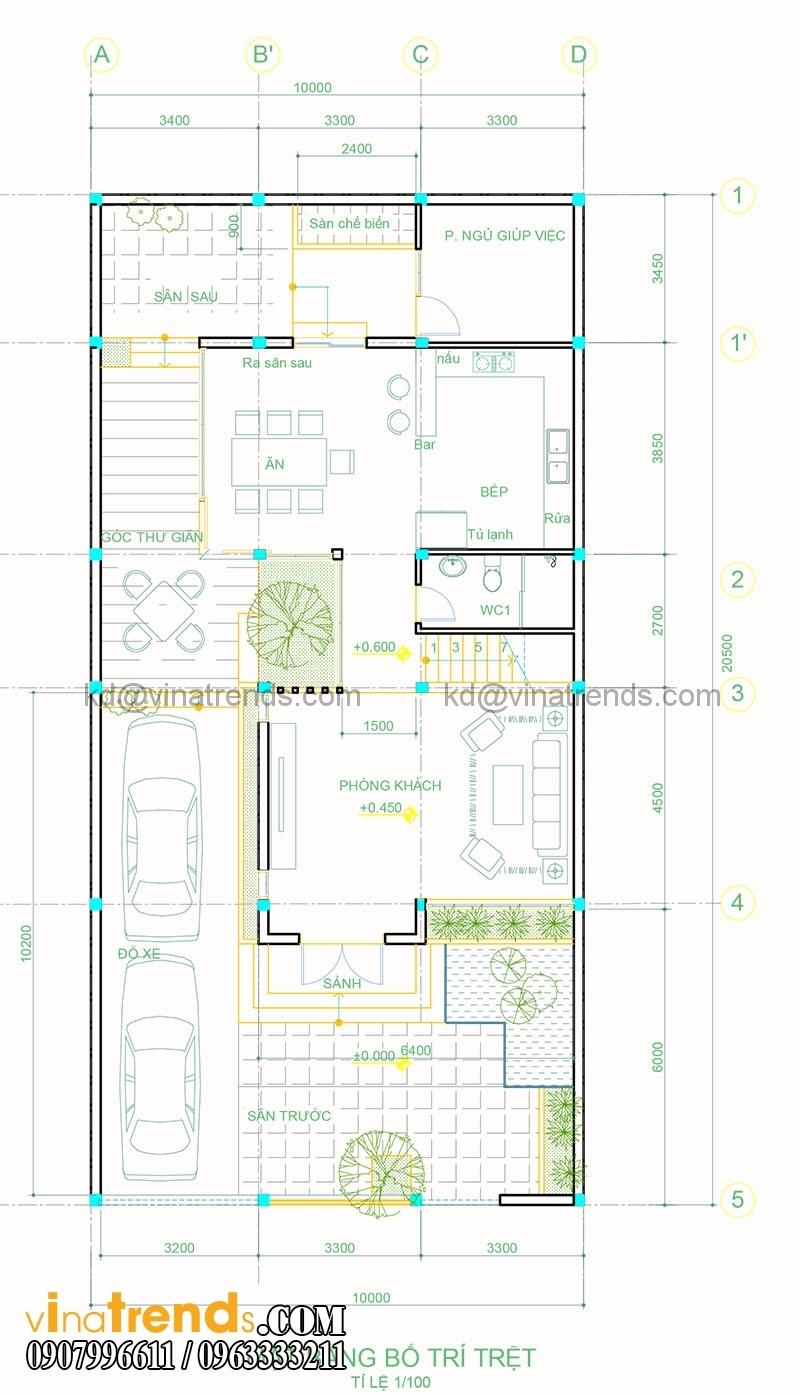 mat bang biet thu pho 3 tang 10x20m 3 Thiết kế biệt thự 3 tầng hiện đại đẹp 10x20m có hầm ô tô khang trang ở Hà Tĩnh