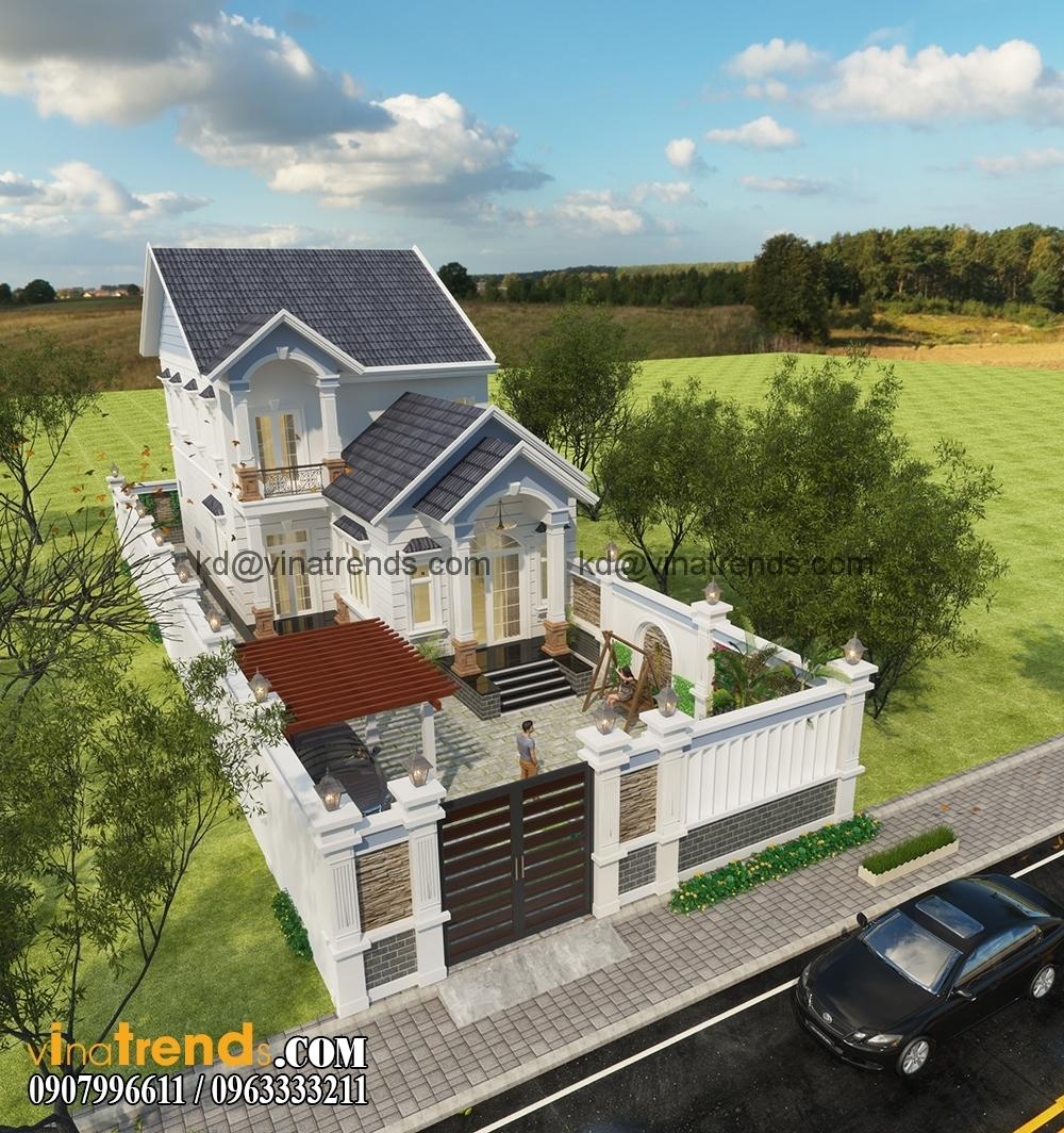mau biet thu san vuon 1 tret 1 lau dep 5 Mẫu thiết kế biệt thự nhà vườn 2 tầng 160m2 đẹp quá xá đẹp   BTV070815A