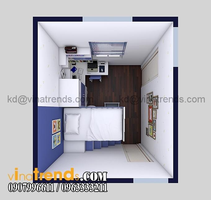 noi that phong ngu anh cuong lang 4 Khám phá nội thất phòng ngủ nhỏ 8,8m2 con trai anh Thành Đồng Nai   NT250815A