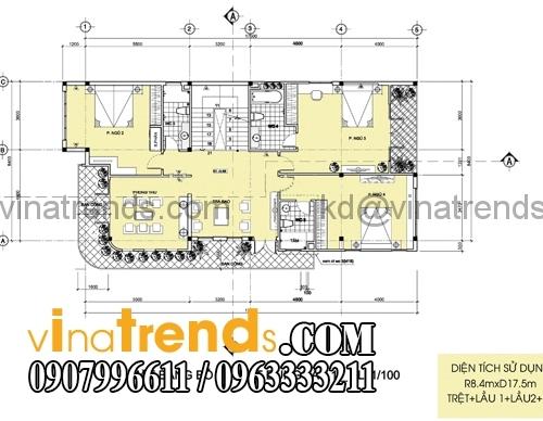 tang 1 Thiết kế biệt thự 2 mặt tiền đẹp 8x18m chất lượng cuộc sống   BT110815A