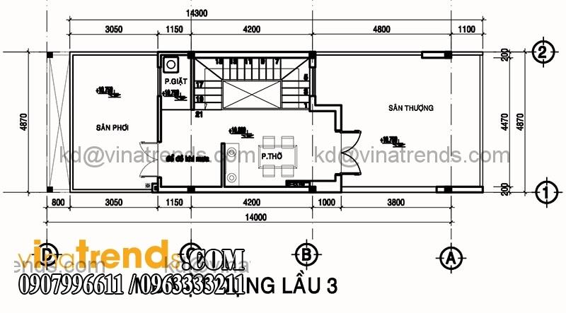 ban ve mat bang mau nha pho dep dien tich 487x14m 5 Độc lạ mẫu thiết kế nhà phố hiện đại 3 tầng : 4,87x14m cực sáng tạo   NP030915A