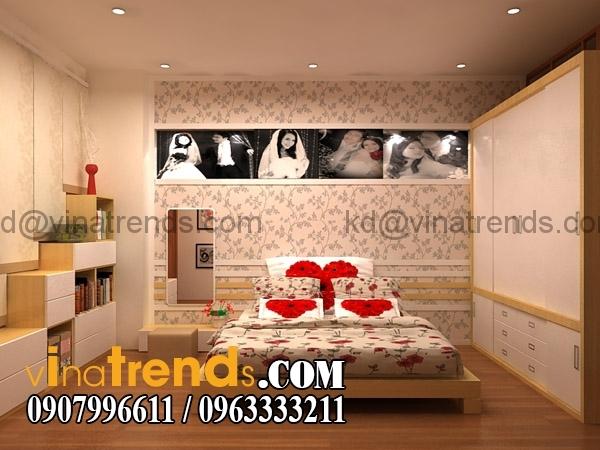 mau go Thiết kế nội thất phòng ngủ cưới với những tone màu thêm phần lãng mạn   NT171015A